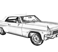 1965 Chevy Impala 327 Convertible Illuistration by KWJphotoart