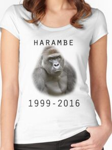 R.I.P Harambe (Black) Women's Fitted Scoop T-Shirt