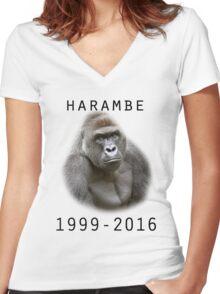 R.I.P Harambe (Black) Women's Fitted V-Neck T-Shirt