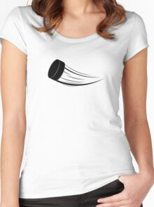 Ice Hockey Puck 2 Women's Fitted Scoop T-Shirt