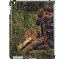 child plays with Axe carpenter iPad Case/Skin