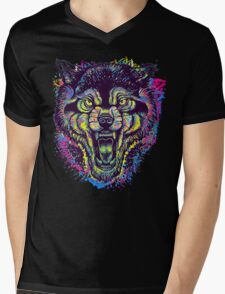 Neotraditional Full Color Wolf Mens V-Neck T-Shirt
