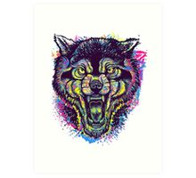 Neotraditional Full Color Wolf Art Print