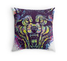 Neotraditional Full Color Wolf Throw Pillow