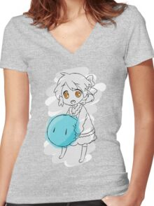 Clannad: Ushio With Dango Women's Fitted V-Neck T-Shirt