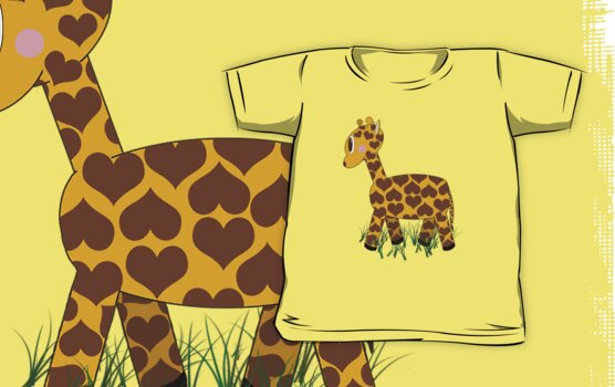 Giraffe in Grass by Chere Lei