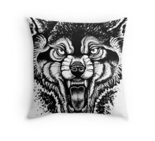 Neotraditional Inked Wolf Throw Pillow