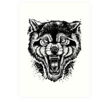 Neotraditional Inked Wolf Art Print