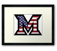Miami University 'M' American Flag  Framed Print