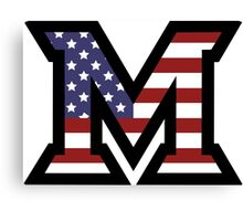 Miami University 'M' American Flag  Canvas Print