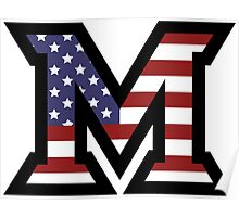 Miami University 'M' American Flag  Poster