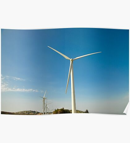 Wind turbines create clean and renewable electricity  Poster