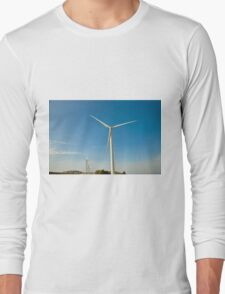 Wind turbines create clean and renewable electricity  Long Sleeve T-Shirt