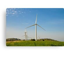 Wind turbines create clean and renewable electricity  Canvas Print