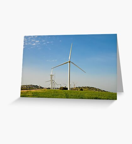 Wind turbines create clean and renewable electricity  Greeting Card