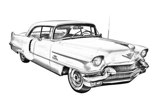 u0026quot 1956 sedan deville cadillac car illustration u0026quot  by kwjphotoart