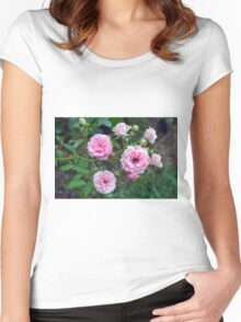 Beautiful delicate pink roses on green leaves background. Women's Fitted Scoop T-Shirt