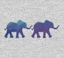 Follow The Leader - Painted Elephants in Purple, Royal Blue, & Mint Kids Clothes