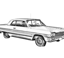 1964 Chevrolet Impala Muscle Car Illustration by KWJphotoart