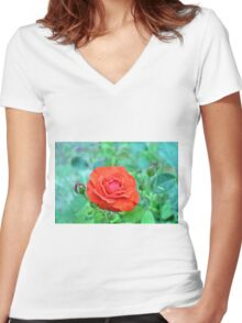 Red rose on natural background with green leaves. Women's Fitted V-Neck T-Shirt