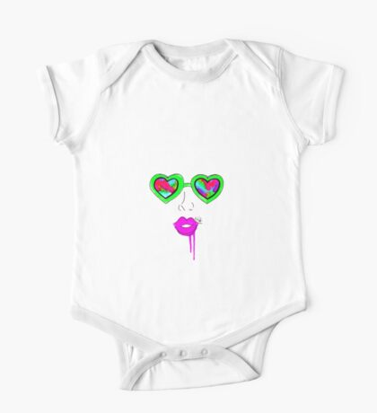 Heart Glasses Face- Neon Green One Piece - Short Sleeve