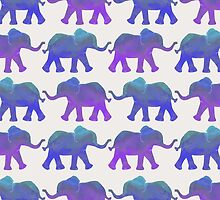 Follow The Leader - Painted Elephants in Purple, Royal Blue, & Mint by Tangerine-Tane
