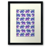 Follow The Leader - Painted Elephants in Purple, Royal Blue, & Mint Framed Print