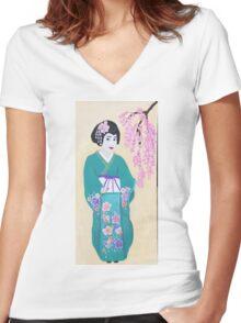 japanese blossom Women's Fitted V-Neck T-Shirt