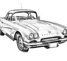 1962 Chevrolet Corvette Illustration by KWJphotoart