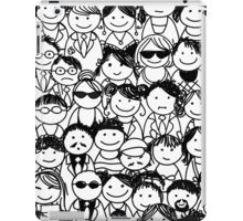 Crowd of funny peoples, seamless background iPad Case/Skin