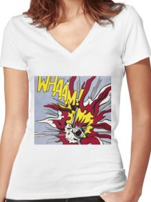 Whaam! - Roy Lichtenstein Print Women's Fitted V-Neck T-Shirt