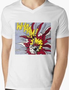 Whaam! - Roy Lichtenstein Print Mens V-Neck T-Shirt