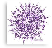Heart Centred Mandala - purple print Canvas Print