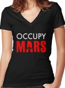 Occupy Mars - Distressed Women's Fitted V-Neck T-Shirt