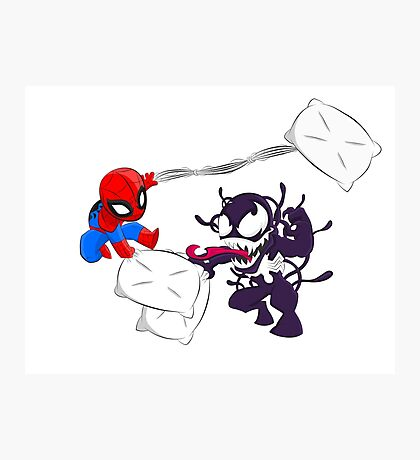 Spiderman and Venom have a Pillow Fight! Photographic Print