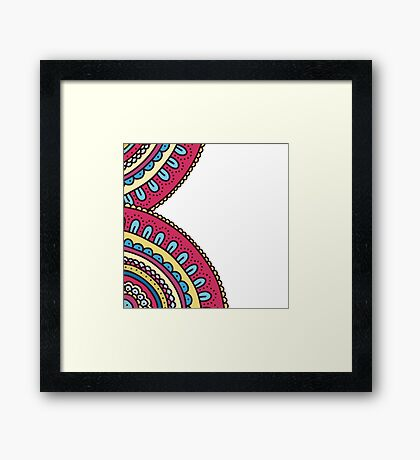 Colorful doodle ornament frame. Bright hand drawn invitation holiday card. Framed Print