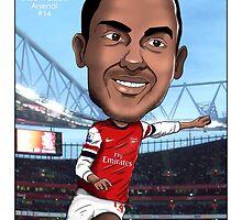 Theo Walcott - Arsenal - Caricature by monkeycircusart