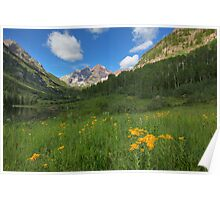 Maroon Bells Images - Colorado Sunflowers and the Maroon Bells on a Summer Morning 1 Poster