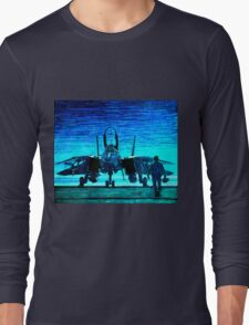 moonlight mission-an f14 tomcat fighter pilot walks to his plane Long Sleeve T-Shirt