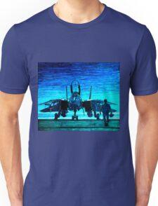 moonlight mission-an f14 tomcat fighter pilot walks to his plane Unisex T-Shirt