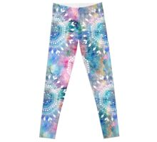 Indian pattern on a watercolor background Leggings