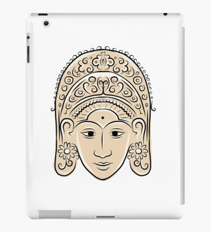 Wooden mask of indonesian dancer woman, sketch iPad Case/Skin