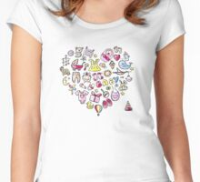 Heart shape design with toys for baby girl Women's Fitted Scoop T-Shirt
