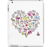 Heart shape design with toys for baby girl iPad Case/Skin