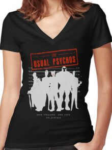 The Usual Psychos (Variant) Women's Fitted V-Neck T-Shirt
