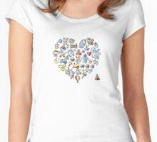 Heart shape design with toys for baby boy Women's Fitted Scoop T-Shirt