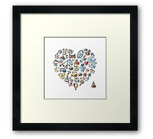 Heart shape design with toys for baby boy Framed Print