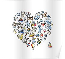 Heart shape design with toys for baby boy Poster