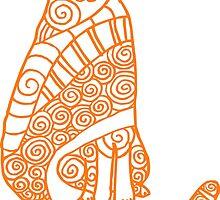 Rufus Cat (orange print) by TangerineMeg