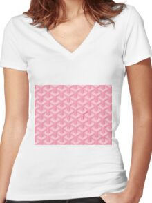 Goyard Perfect Case pink Women's Fitted V-Neck T-Shirt